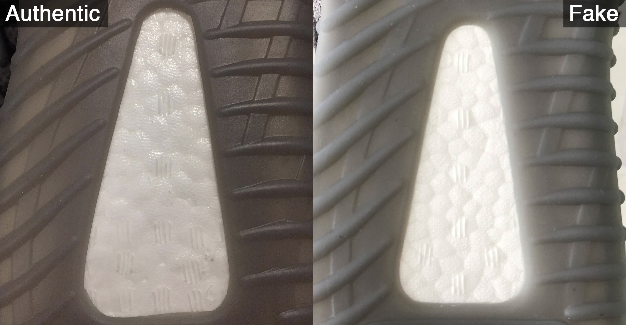 c080aac46a78a First thing to look out for is the marks on the boost – the three-striped  circles on the fakes and multi-striped on the retail pairs.
