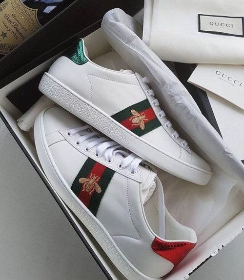 112c451a2b8 Fakes are missing the highlighted text on the back of the insole.  Categories  Gucci Ace Sneaker