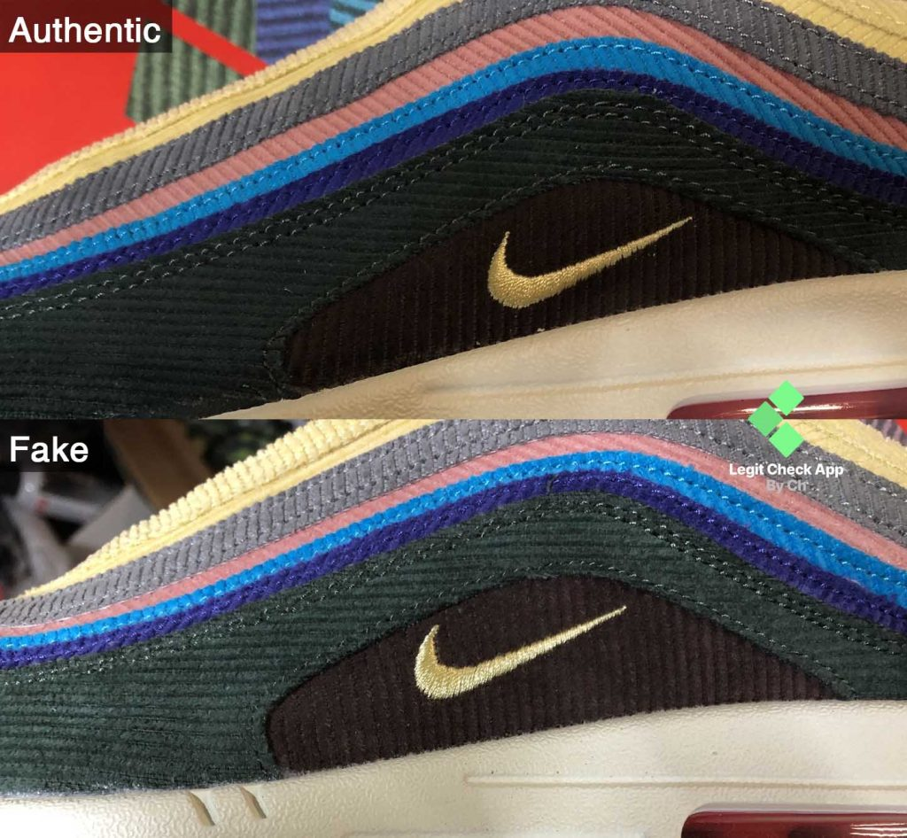 Difference between the two Nike swoosh logo and the brown patches on this Sean Wotherspoon model