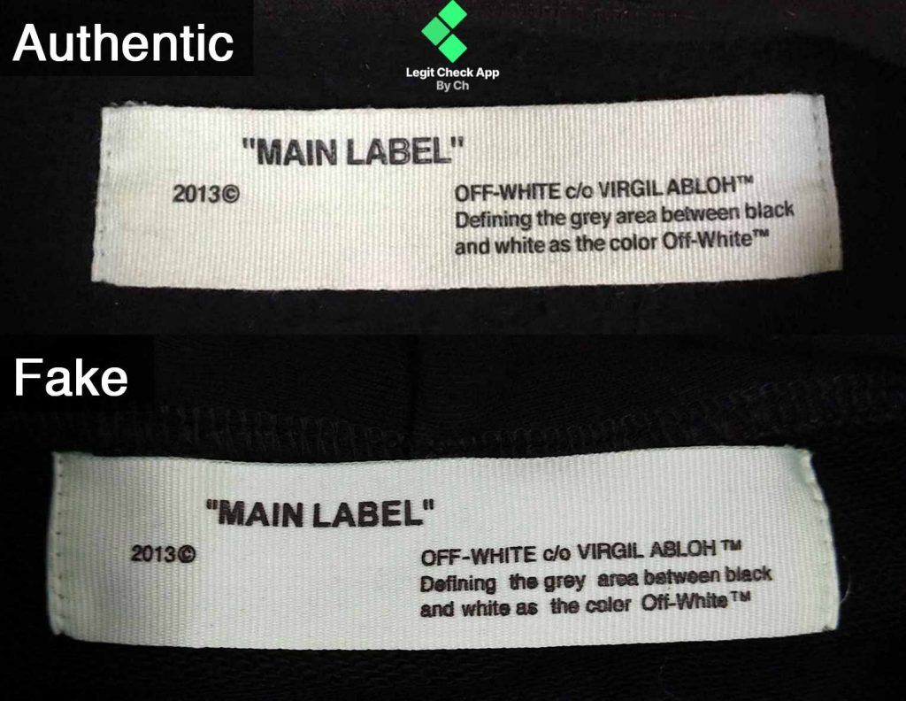 comparison fake vs real neck tag for hoodie