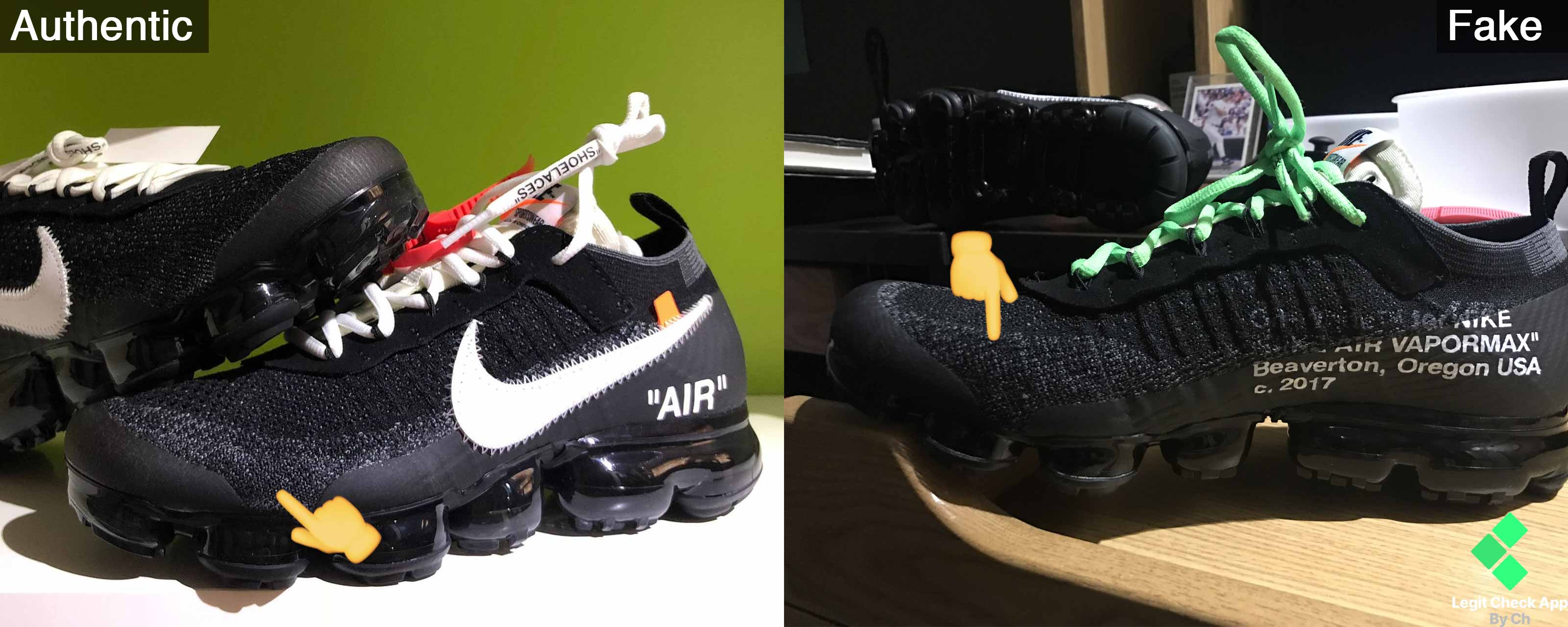 64ba3b1a51 Off-White Vapormax Fake Toebox vs Authentic Toebox. The flyknit on the fakes  has a different texture and is darker.