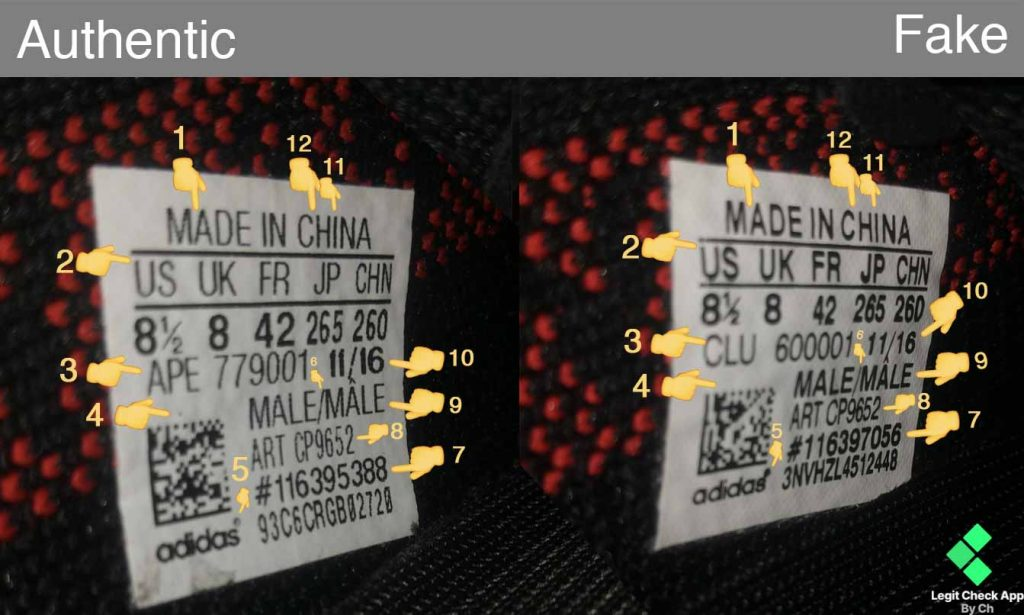 best authentic 17a5c 33c1a Fake vs real Yeezy 350 V2 Bred size tag comparison map