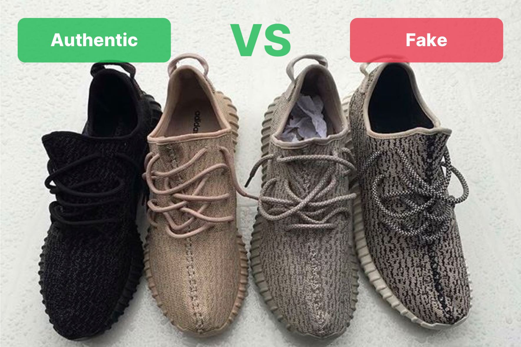 ccec628cb68 Yeezy 350 Fake Vs Real: Turtle Dove, Pirate Black, Oxford Tan, Moonrock
