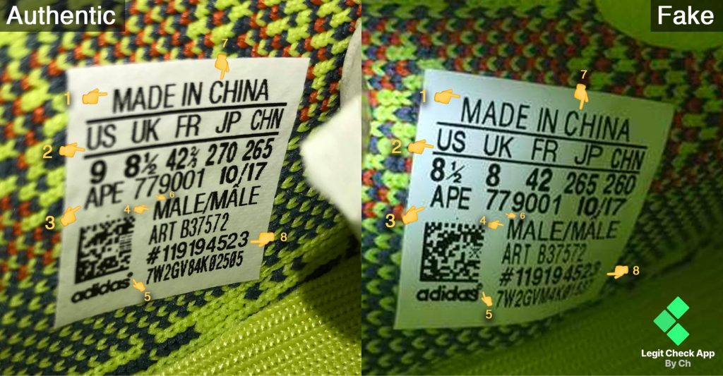 128150ced0f Yeezy 350 V2 Frozen Yellow Fake Vs Real: Size Tag - Legit Check App
